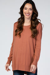 Rust Solid Hi-Low Maternity Sweater