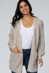 Beige Cable Knit Patterned Maternity Cardigan