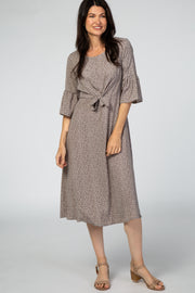Grey Polka Dot Ruffle Sleeve Midi Dress