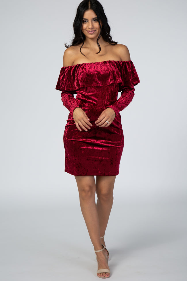 Burgundy Crushed Velvet Off Shoulder Dress