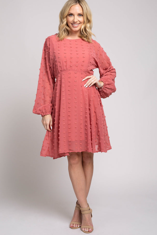 Pink Textured Dot Maternity Dress