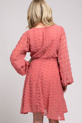 Pink Textured Dot Dress