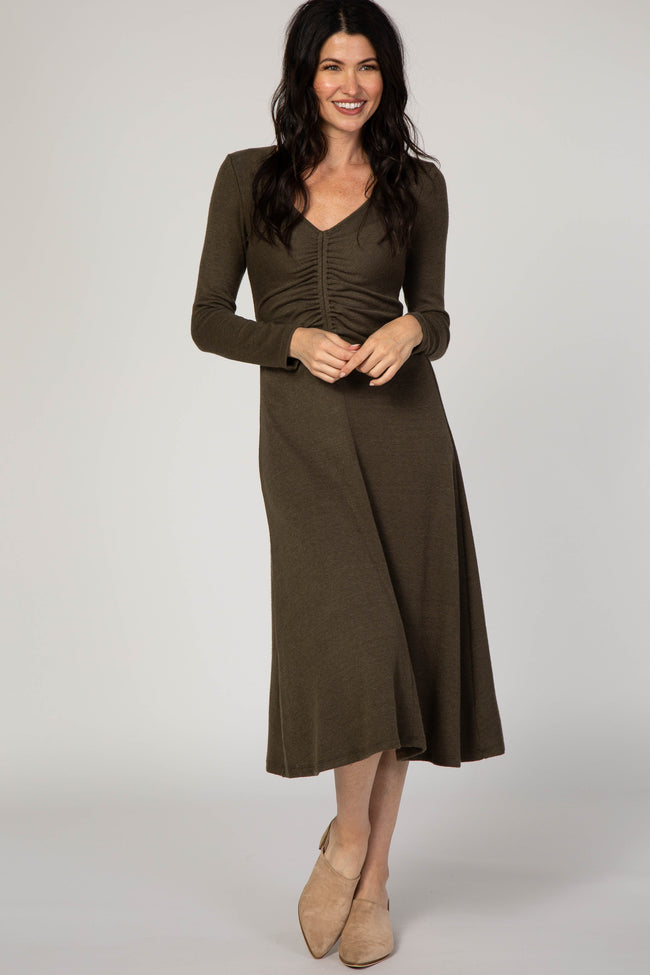 Olive Cinched Front Midi Sweater Dress