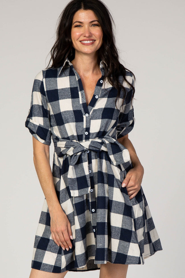 Navy Blue Plaid 3/4 Sleeve Roll Cuff Collared Dress
