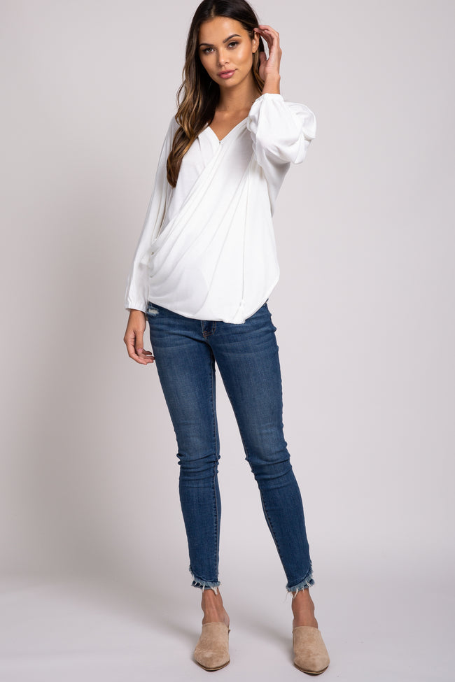 White Wrap Hooded Maternity Top