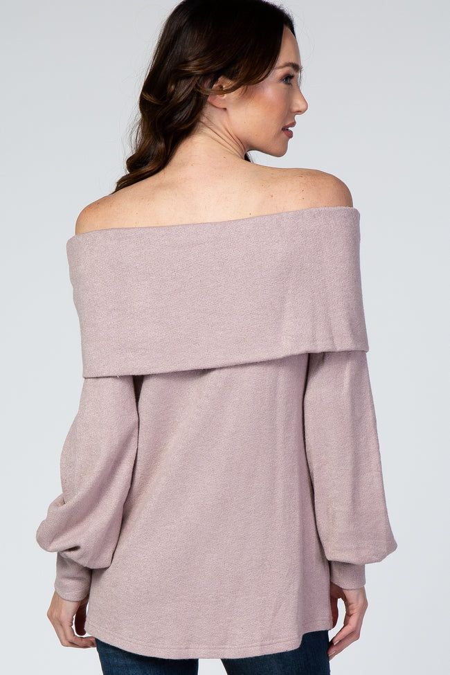 Mauve Folded Off Shoulder Long Balloon Sleeve Maternity Top