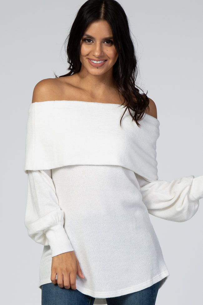 Cream Folded Off Shoulder Long Balloon Sleeve Top