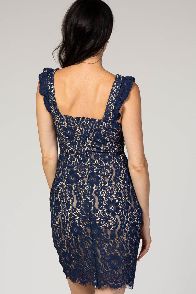 Navy Lace Overlay Ruffle Strap Fitted Dress