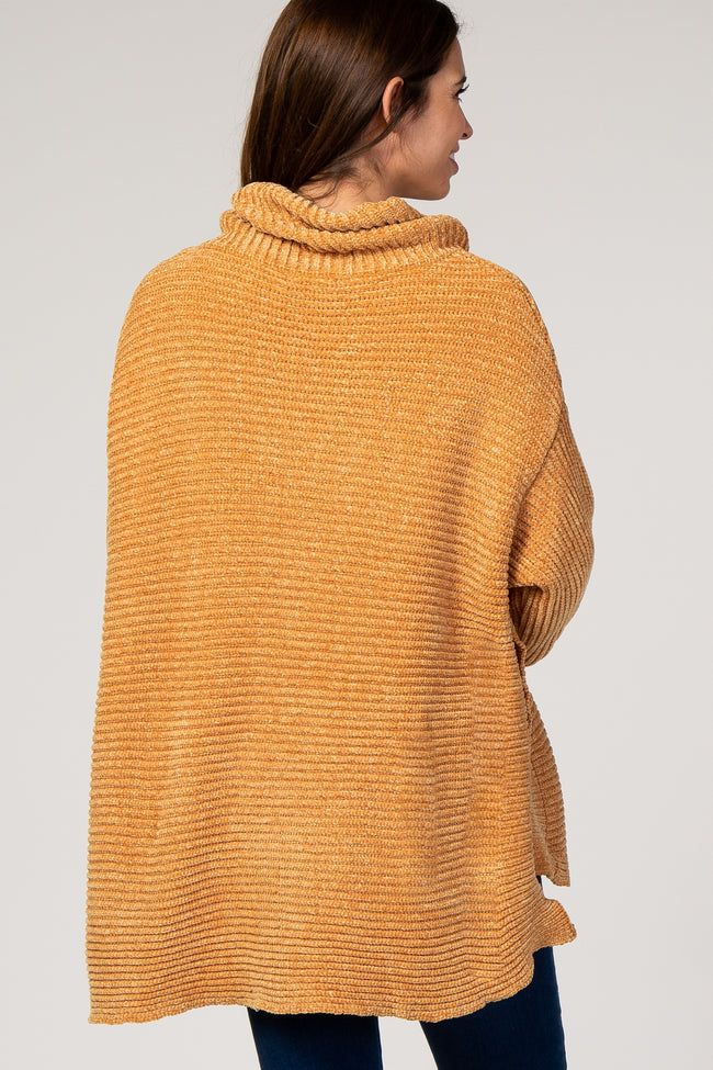 Mustard Chenille Ribbed Poncho Maternity Sweater