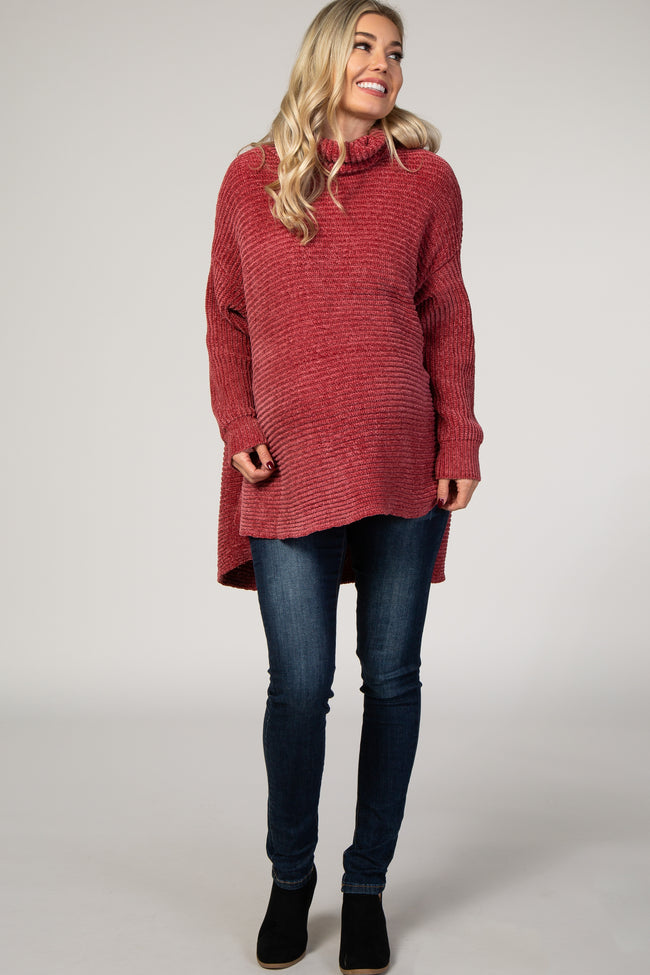 Rust Chenille Ribbed Poncho Maternity Sweater