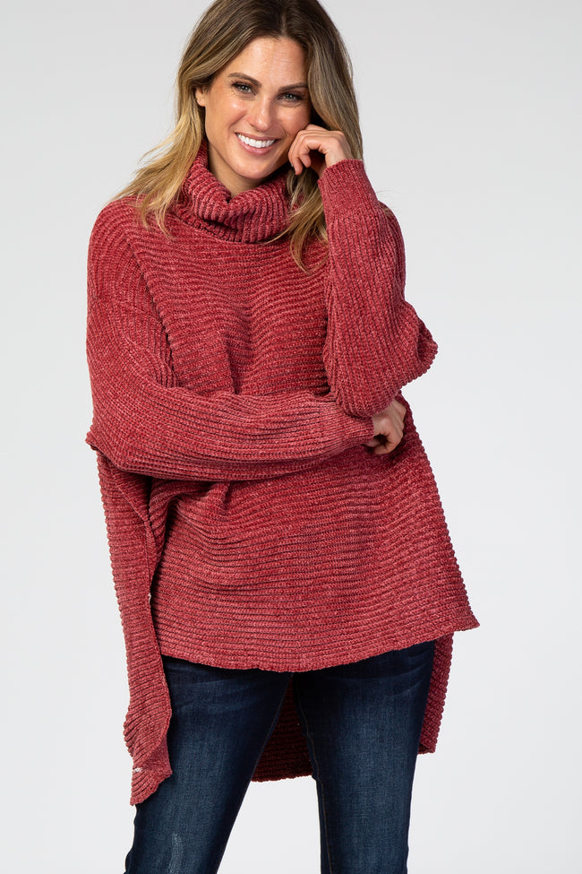 Rust Chenille Ribbed Poncho Sweater