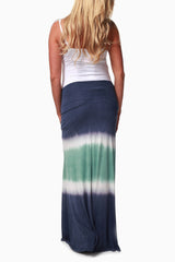 Blue Green Tie Dye Maternity Maxi Skirt