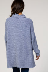 Light Blue Chenille Ribbed Poncho Maternity Sweater