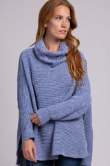 Light Blue Chenille Ribbed Poncho Sweater
