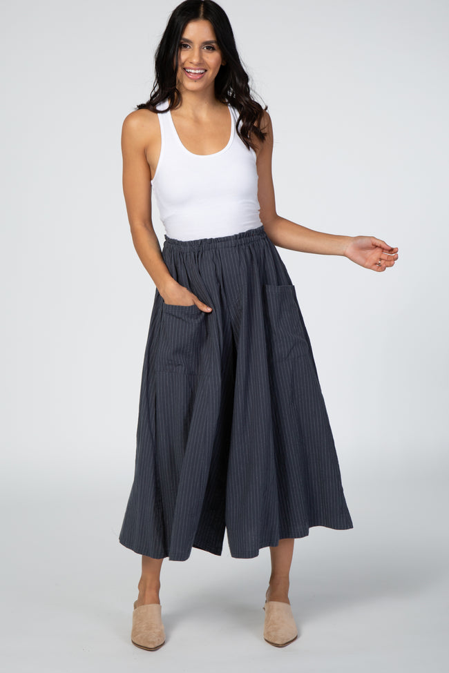 Charcoal Wide Leg Cropped Pinstripe Elastic Waist Pant