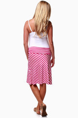 Fuchsia White Stripe Maternity Skirt