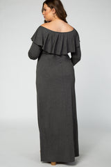 Charcoal Off Shoulder Ruffle Long Sleeve Plus Maternity Maxi Dress