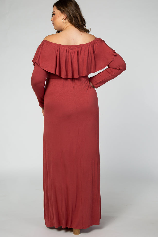 Coral Off Shoulder Ruffle Long Sleeve Plus Maternity Maxi Dress