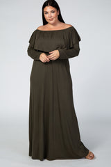 Olive Off Shoulder Ruffle Long Sleeve Plus Maternity Maxi Dress