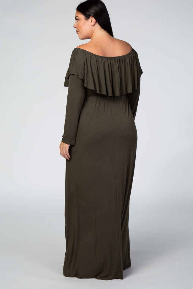 Olive Off Shoulder Ruffle Long Sleeve Plus Maxi Dress