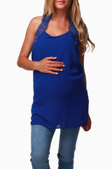 Royal Blue Sheer Racerback Maternity Tank