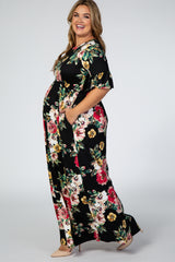 Black Floral Ruffle Sleeve Maternity Plus Maxi Dress