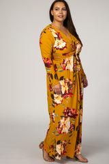 Mustard Floral Twist Front Plus Maxi Dress