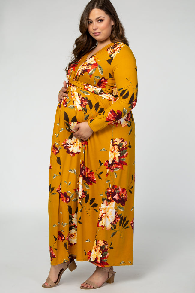 Mustard Floral Twist Front Maternity Plus Maxi Dress