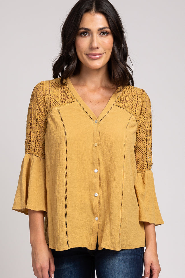 Yellow Long Sleeve V-Neck Crochet Lace Button Down Top