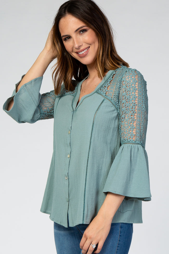 Mint Green Long Sleeve V-Neck Crochet Lace Button Down Top