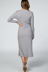 Grey Ribbed Side Slit Maternity Midi Dress