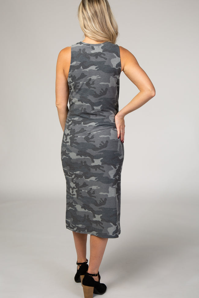 Grey Camo Sleeveless Maternity Midi Dress