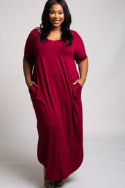Burgundy Side Slit Plus Maxi Dress