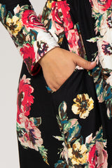 Black Floral Wrap Top Plus Dress