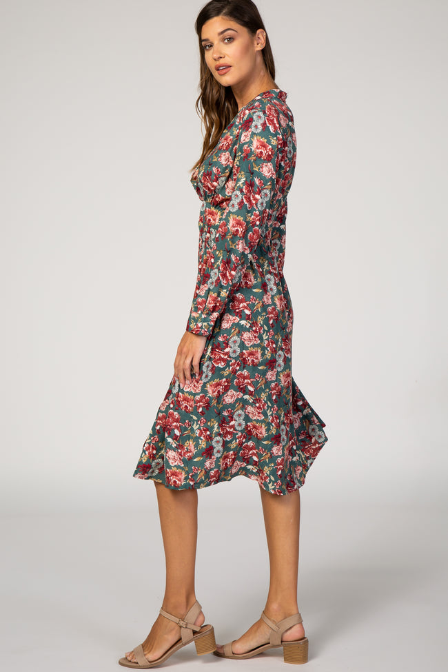 Forest Green Floral Long Sleeve V-Neck Side Slit Midi Dress