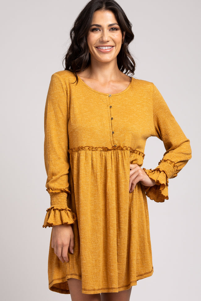 Yellow Cinched Long Sleeve Ruffle Babydoll Dress