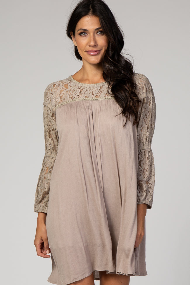 Taupe Long Sleeve Lace Keyhole Back Dress
