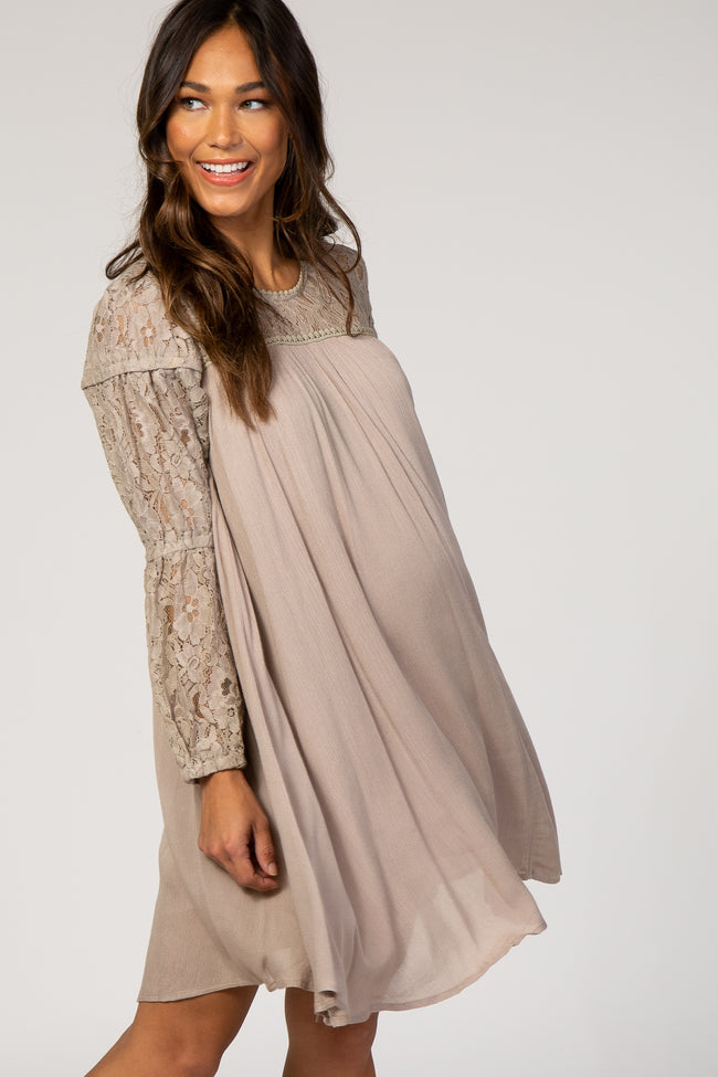 Taupe Long Sleeve Lace Keyhole Back Maternity Dress