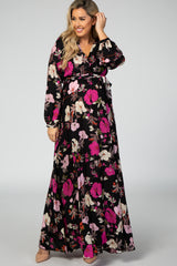 Black Floral Long Sleeve V Neck Tied Waist Maternity Maxi Dress