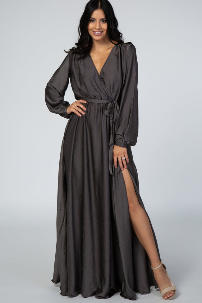 Charcoal V-Neck Long Sleeve Tied Waist Maxi Gown