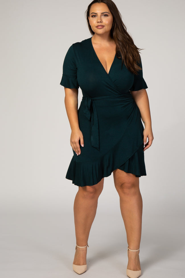 Forest Green Short Sleeve Ruffle Wrap Plus Dress