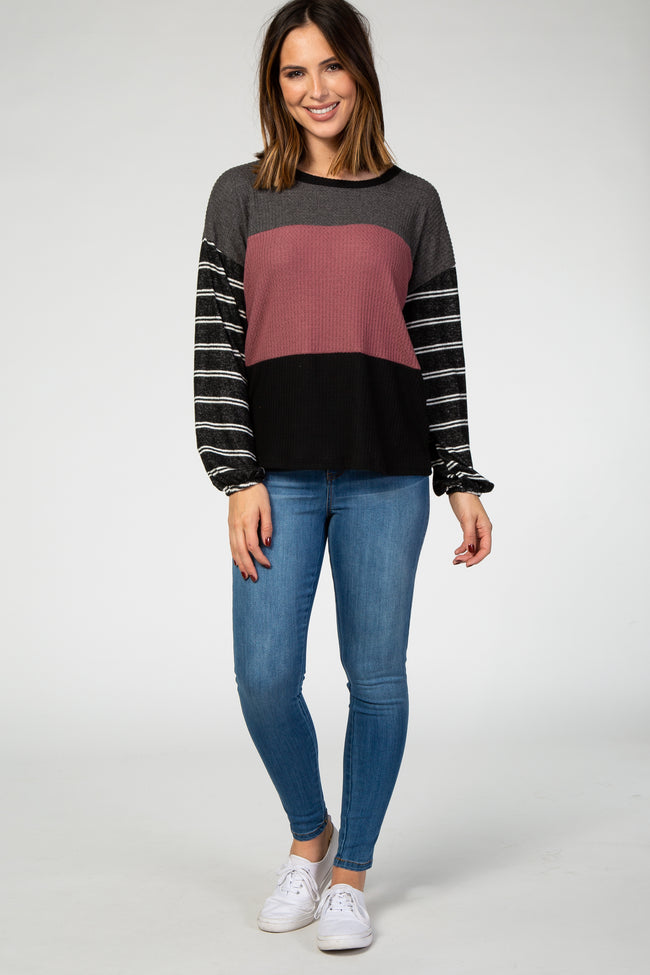 Black Striped Colorblock Long Sleeve Top