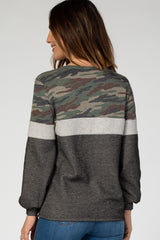 Charcoal Camo Colorblock Terry Top