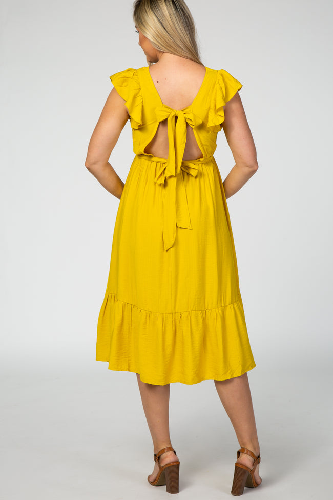 Mustard Ruffle Accent Cutout Back Maternity Midi Dress