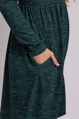 Green Heathered Long Sleeve Knit Dress