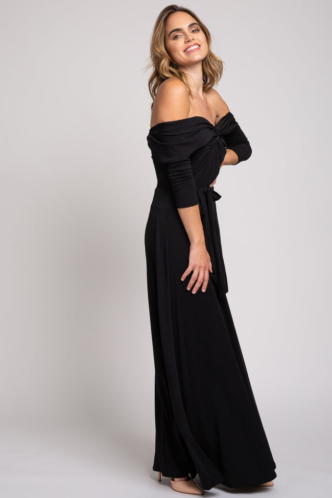 Black Knotted Off Shoulder Maxi Dress
