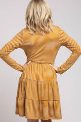 Mustard Striped Long Sleeve Ruffled Dress