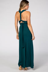 Green Solid Convertible Maxi Dress