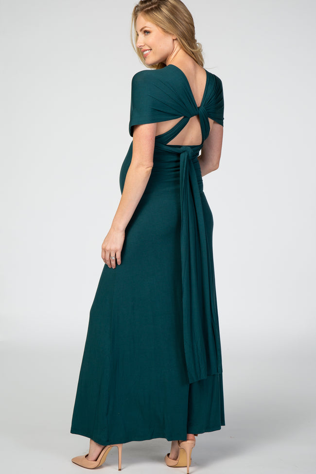 Green Solid Convertible Maternity Maxi Dress