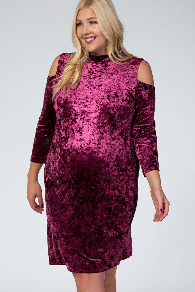 Burgundy Cold Shoulder Crushed Velvet Plus Maternity Dress